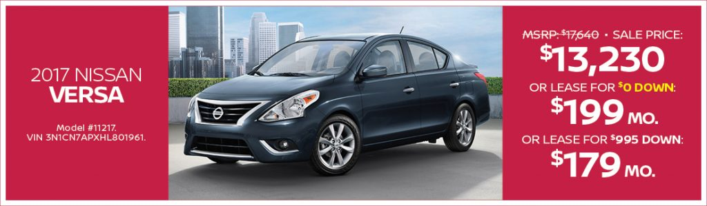 Drive away from Passport Nissan MD in a 2017 Versa with ...