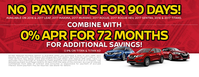 No Payments For 90 Days Plus 0 Apr For 72 Months At Passport Nissan Md Passport Nissan Blog