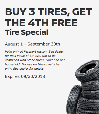 Buy 3 tires, Get the 4th for FREE at Passport Nissan MD